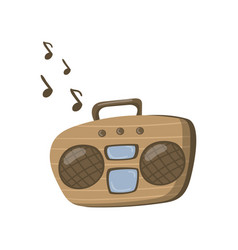 Boombox or radio cassette tape player cartoon vector