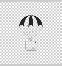 Box flying on parachute icon isolated vector