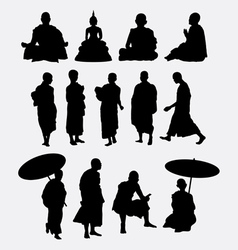 Buddhist monk silhouettes vector