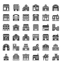 Building construction icon set solid style vector