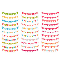 bunting flags collection for decoration party vector image