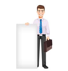 Business man standing near blank placard vector