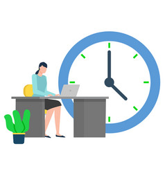 business worker woman with clock at work deadline vector image