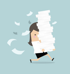businesswoman run holding a lot of papers vector image