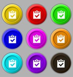 Check mark tik icon sign symbol on nine round vector image