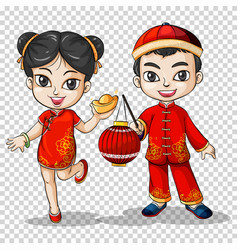 Chinese boy and girl in traditional costume vector