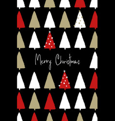 Christmas greeting card with trees pattern vector