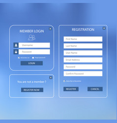 Collection login and register web screen with vector
