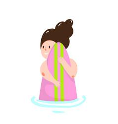 comic cartoon girl hugging surfboard small simple vector image