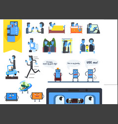 Concept internet addiction people using vector