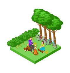 couple on a romantic picnic isometric tourism vector image