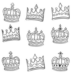 Crowns hand draw of set doodles vector