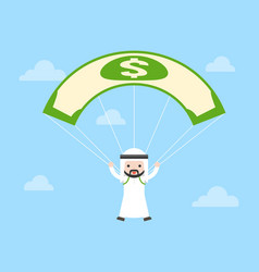 cute arab saudi guy jumping parachute by using vector image