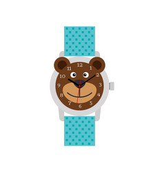 cute blue bear watch for kids vector image