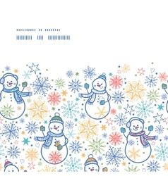 cute snowmen horizontal frame seamless pattern vector image