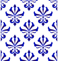 damask pattern blue and white vector image