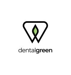 dental leaf logo design symbol templateden vector image