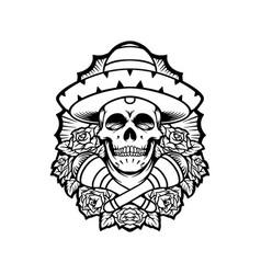dia de los muertos mexican skull silhouette vector image