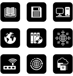 Digital black icons set vector