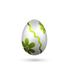 Easter egg 3d icon green silver egg isolated vector
