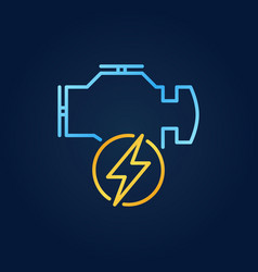 Electric car engine linear colored icon vector