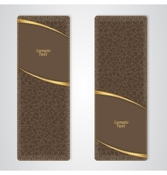Elegant brown leather vertical banner with two vector