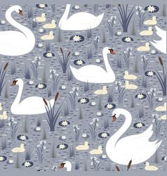 elegant white swans with chicks swim in pond vector image