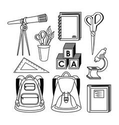 Elementary school supplies vector