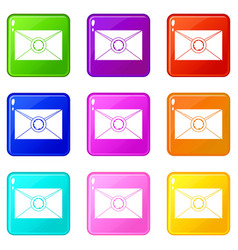 Envelope with wax seal icons 9 set vector