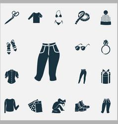 Fashionable icons set with bikini sandals gift vector