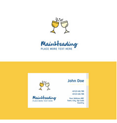 flat cheers logo and visiting card template vector image
