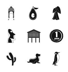 Foreign land icons set simple style vector