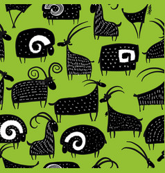 goats and rams seamless pattern for your design vector image