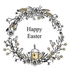 greeting card for easter with floral wreath with vector image