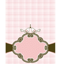 Hand draw doves on pink checked background vector