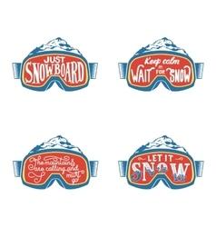 Handdrawn vintage snowboarding quotes vector image