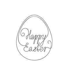 Happy easter calligraphy line art lettering vector