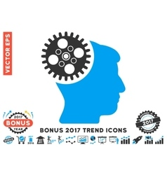 Head Gearwheel Flat Icon With 2017 Bonus Trend vector