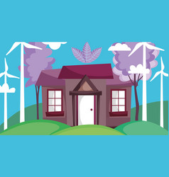 house field windmills tree energy ecology vector image