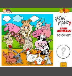 How many farm animals educational task for kids vector