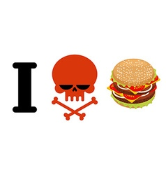 I hate hamburger Skull symbol of hatred and great vector