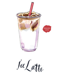 Iced latte or iced coffee in takeaway cup vector