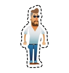 Isolated hipster man cartoon design vector