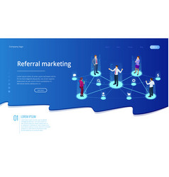 Isometric referral marketing network marketing vector