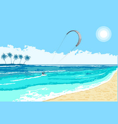 Kitesurfing summer watersport seaside vector