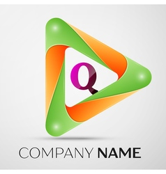 Letter Q logo symbol in the colorful triangle on vector