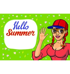 lettering Hello summer greeting card girl waving vector image