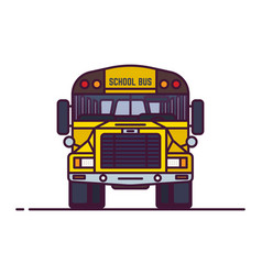 Line classic yellow school bus vector