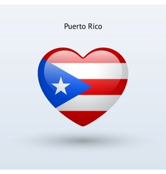 Love Puerto Rico symbol Heart flag icon vector