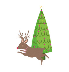 merry christmas celebration decorative tree with vector image